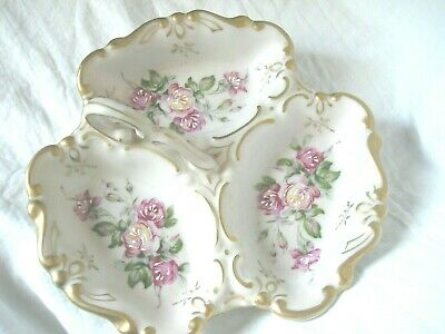 Vintage Lefton China Hand Painted Floral Divided Dish With Handle-EXCELLENT