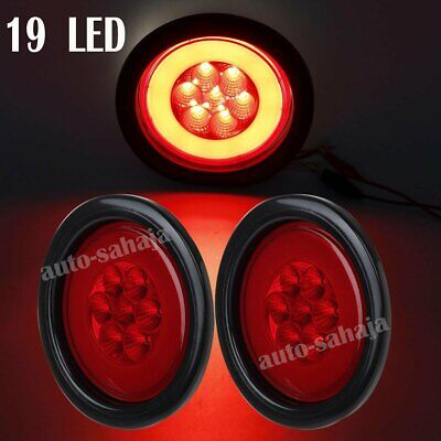 """2X Red 4"""" Round 19 LED Stop Truck Trailer Lamp Glo-Light w/Rubber Grommet&3 Wir"""