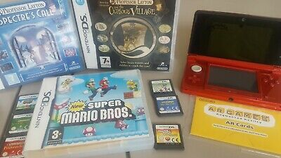 Nintendo 3DS - Flame Red with New Super Mario bros and other games.