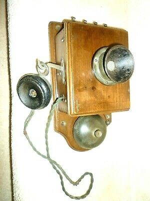 Genuine Antique Old Wooden Wall Mounted Telephone-Good Original condition