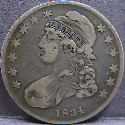 1834 50¢ Capped Bust Half Dollar, Small Date / Small Letters. Very Fine.