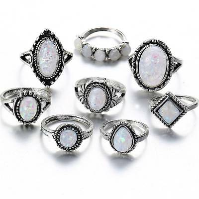 8 Pcs/Set Opal Stone Knuckle Shield Rings Set Women Boho Antique Silver Rings