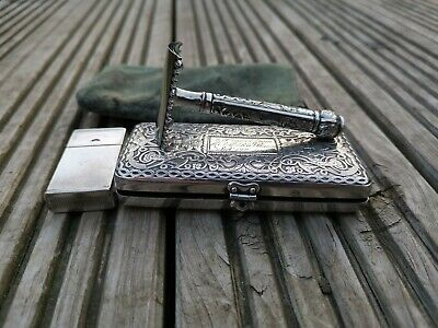 Vintage Gillette ABC Pocket Edition Safety Razor Over 100y Old, silver plated