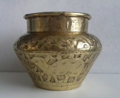 Rare Antique Indo-Persian Brass Repoussè Plant Holder Pot