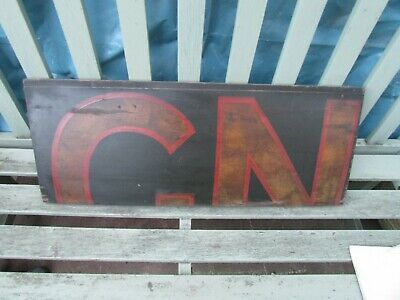 Antique Hand Painted Wooden Sign Mahogany Lettered G N