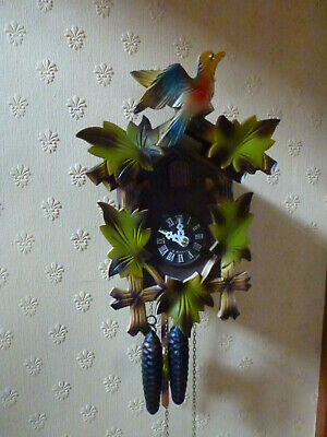 Lovely Vintage German Wooden & Coloured Cuckoo Clock