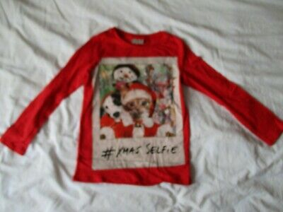 BNWOT NEXT red Christmas cat dog snowman print girls top. Age 8 years