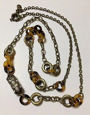 "J Crew Faux Tortoise Shell Links Crystal Gold Tone Chain Necklace 30"" Long"