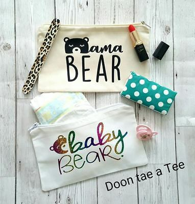 Mama  Baby Bear matching zipped bags Gift Baby Shower Present Nappy Changing