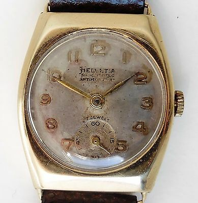 Gents 1951 9ct Gold Helvetia 82C Mechanical 17J Watch With Sub Dial Working