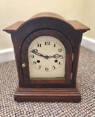 Early Oak Cased Mantle Clock Striking On A Gong