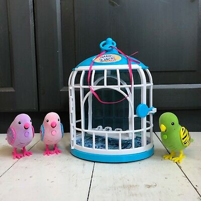 3 x Little Live Pets Talking/Tweeting Interactive Birds & Cage