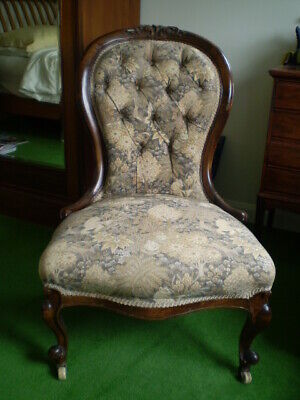Antique Victorian Walnut Framed Buttoned Back Ladies Chair