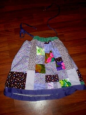 Hippie Boho Handmade Patchwork Halter Top Awesome Vtg Prints Tons Of Detail Xs/s