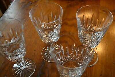 Set of 4 Waterford Crystal Stemware Lismore Water Wine Goblets large 6 7/8 tall.