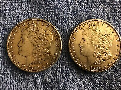 1896 Morgan Silver Dollar-1898 Morgan Silver Dollar- Lot Of 2 Coins