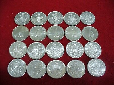Lot Of 20  Pre-1968 Canada Half Dollar Silver Coins 50 Cent Pieces   Not Junk  B