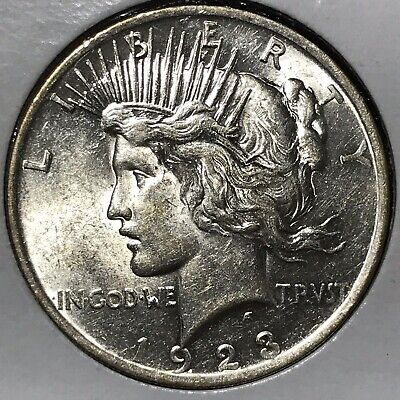 1923 Peace Silver Dollar! UNCIRCULATED+++MINT LUSTROUS! DIE CRACK & OVERPOLISHED