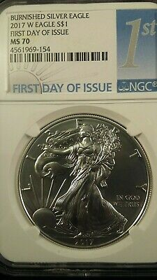 2017-W American Silver Eagle Burnished : NGC MS70 : First Day Issue : 1st Label