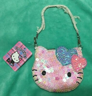 f37db3dce NEW Sanrio Hello Kitty Sequin Beaded Coin Purse/Bag with Strap Hearts Pink  Blue