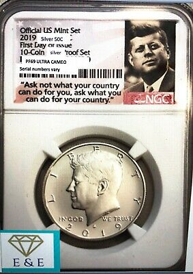 "2019-S--Pf-69 Ngc ""first Day Issue"" Kennedy Half 99.9% Silver,frm 10 Pc Set"