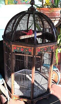 Antique Chinese hand-carved painted wooden Bird Cage Octagon dome table top 48'