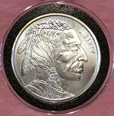 Indian Head & Buffalo Radial Lines 1 Troy Oz .999 Fine Silver Round Coin Medal
