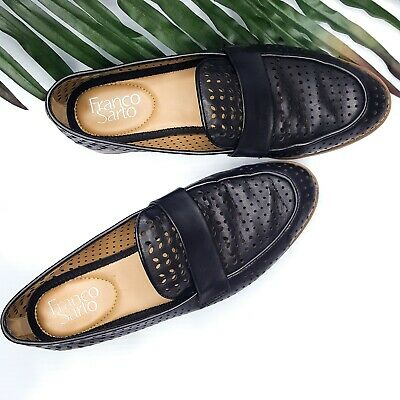 0c117e22abf Franco Sarto Hudley Black Perforated Leather Loafers Flats Size 7M