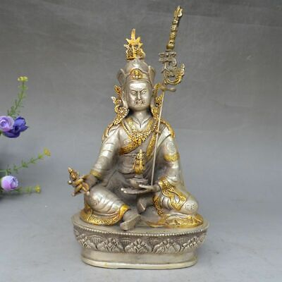 China Copper Silver Tibet Buddhism Yellow Jambhala Wealth God Bronze Statue