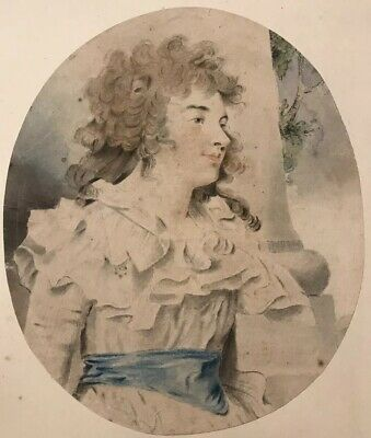 18th CENTURY GEORGIAN  WATERCOLOUR PORTRAIT of a LADY - ANTIQUE PAINTING