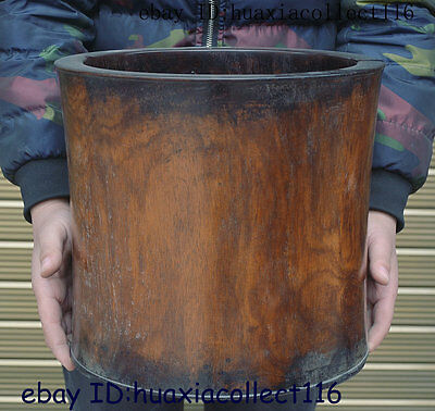 """13"""" Collect Old China Huanghuali Wood  Hand-Carved Round Brush Pot pencil vase"""