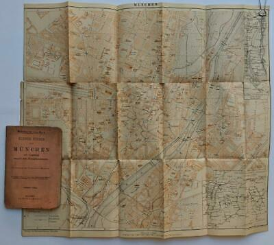 LOT of 2 MUNICH GERMANY ca. 1900 FOLDING ANTIQUE MAP & GUIDE BOOK by C. KAISER