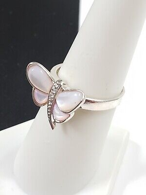 Vintage Sterling Silver Mother Of Pearl Inlay Butterfly Ring sz 10 (2.7 g)