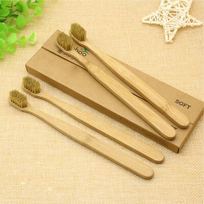 Health Bamboo Toothbrush Wood Handle Khaki Soft Bristles Adult Oral Care Tooth