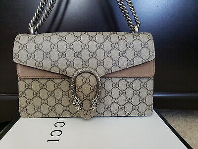 17d4fda6e4f27d Authentic Gucci Dionysus Small shoulder bag canvas supreme beige suede