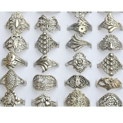 50Pcs Lots Vintage Tibet Flower Silver Rings Wholesale Mixed Costume Jewelry