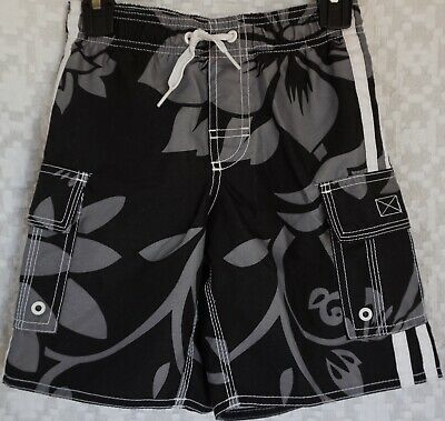 14d32ee162 OLD NAVY Boys Black Gray White Hibiscus Floral Swim Wear Trunks Shorts X  Small 5