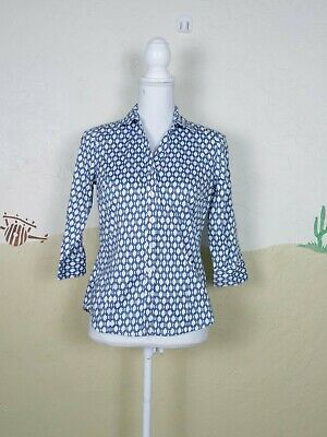 b283950c 212 Collection Womens Size XS Shirt Blue White Chain Print Button Up Top