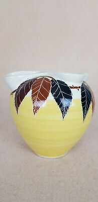 Rare Glass And Pottery Co Autumn Leaves Hand Painted Vase - Australian Pottery