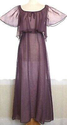 Vintage 70s Sheer Draped Purple Maxi Dress Empire Waist Caped Hippie Boho Prom