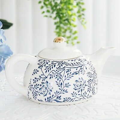 Porcelain Blue Fern Teapot w Metal Infuser Gold Trim Lid 400ml - 2 cup Tea Pot