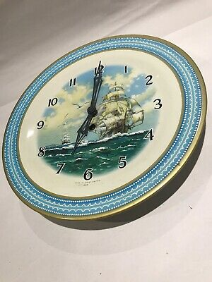 Vintage Smiths Tinplate Plate Clock Ship 10""