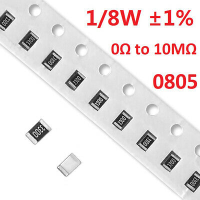 1/8W 0805 SMD/Chip Resistors/Resistance ±1%- Full Range of Values (0Ω to 10MΩ)