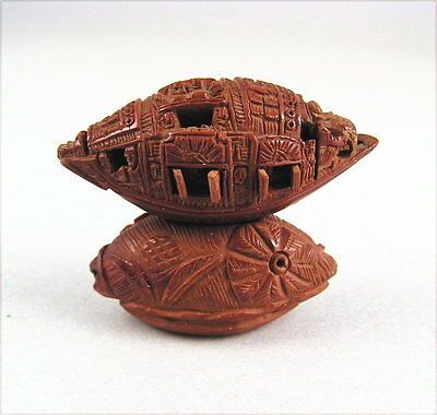Amazing Detail Chinese Carving Olive Pit Boat by Zhan Gusheng Late 19c