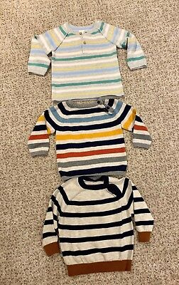 Lovely H&M / Matalan -  Baby Boy 3 x Stripe Jumpers - Age 6-9 Months
