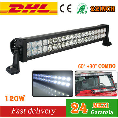 "Faro Da Lavoro 22"" 120W A Led Light Bar Barra Luce Auto Fuoristrada 4X4 4Wd 12V"