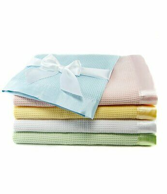 100 Cotton Waffle Weave Thermal Receiving Baby Blanket By