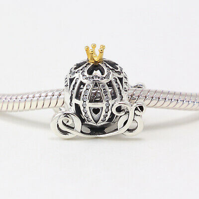 925 ALE Sterling Silver Authentic Pandora Charms Gold Crystal Cubic Zircon Bead