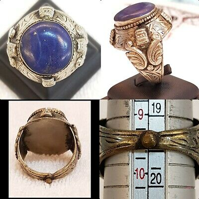 Wonderful Ancient Silver Ring Beautiful Old Lapis lazuli Stone Islamic Design #4