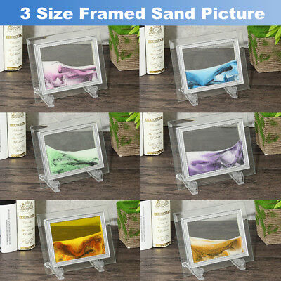 3 Size Framed Moving Sand Time Glass Pictures Home Table Decor Art Craft Gifts
